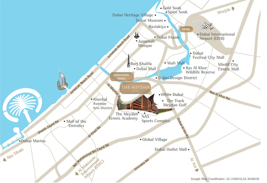 location map the meydan hotel is conveniently located on the famous dubai racecourse meydan complex